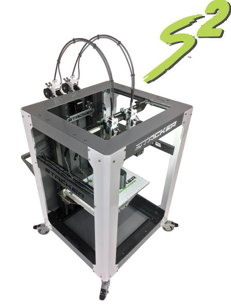 stacker, s4, 4 head, frame, extender, 3d desktop printer, stacker 3d, color fabb, filaments, s2