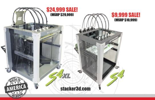 stacker, s4, 4 head, frame, extender, 3d desktop printer, stacker 3d, color fabb, filaments, s2, ibeam, i-beam, stacker s4, fusion, stratasys