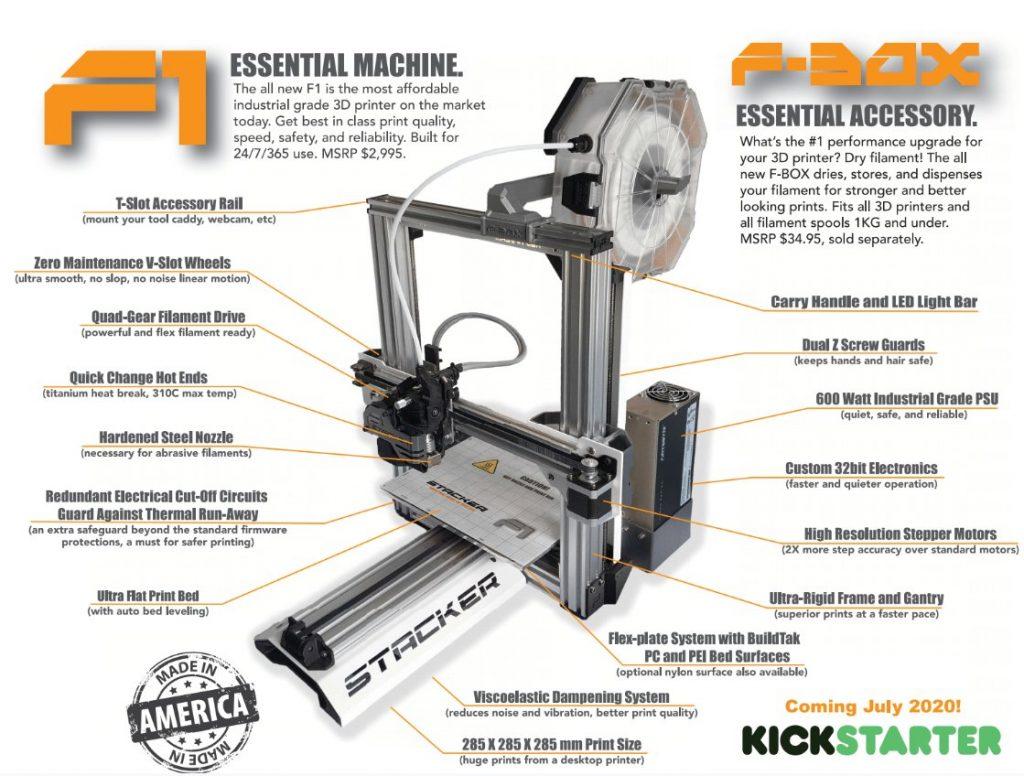stacker, single head, 1 head, 3d desktop printer, stacker 3d, f-1, f1, f-box, fbox, industrial printer