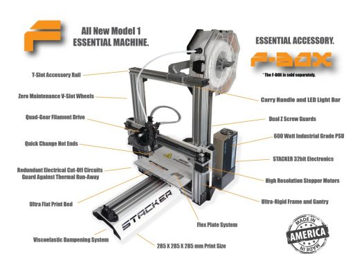 stacker, single head, 1 head, 3d desktop printer, stacker 3d, f-1, f1, f-box, fbox, industrial printer, f-series